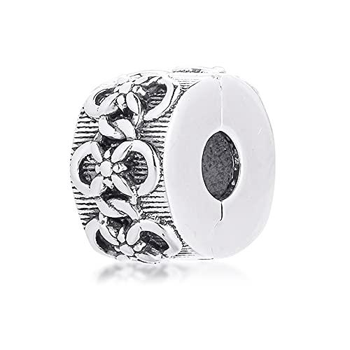 CHICBUY 2021 primavera flor patrón tapón clip grano 925 plata DIY se adapta para pulseras originales Pandora encanto joyería de moda