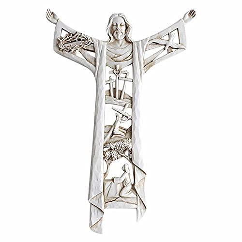 Juyuntong Cruz de Pared de Cristo resucitado y Cruz de Pared de la última Cena, decoración de Pared Colgante para el hogar para la Primera comunión, Cruz de Bautismo católico