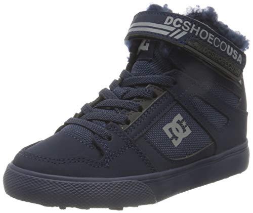 DC Shoes Pure HIGH-TOP Winter Elastic Sneaker, Navy/Grey, 38 EU