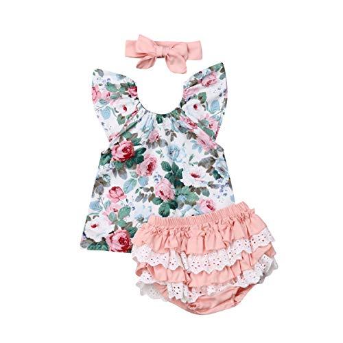 Conjunto de verano para bebé, 3 piezas, camiseta de manga volante, impresión floral, pantalones Bloomers cortos con encaje y banda Rosa 1-2 Años