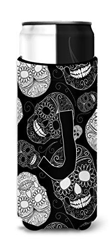 Lettre J Jour des morts Têtes de mort Noir Michelob Ultra Koozies pour fin canettes Cj2008-jmuk