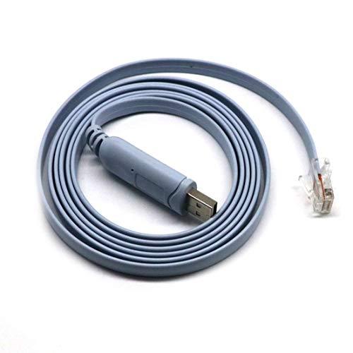 BiaBai Cable de 1,5 m USB a RJ45 Cable de consola RS232 Adaptador en serie para Cisco Router Switcher Converter Cable de consola USB