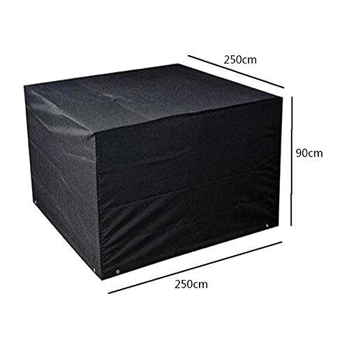 Meijunter 250 * 250 * 90cm Noir Jardin Meubles Imperméable Boîtier étui Protecteur pour Carré Cube Table Banc