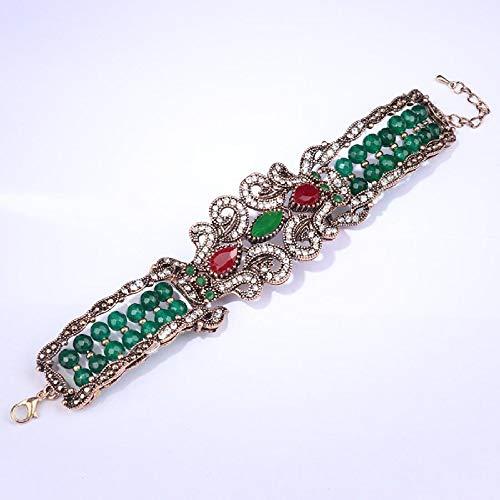 Fashion Antique Gold Big Bracelet Natural Stone Crystal Beads Bangle For Women Punk Rock Vintage Jewelry Gift New Diameter 22Cm