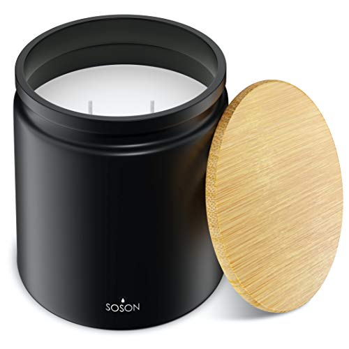 Simply Soson Tobacco Leaf | Soy Candles | Soy Wax Scented Candles for Home | Aromatherapy Candle | Stress Relief | 2 Wick with Bamboo Lid - 10 Oz