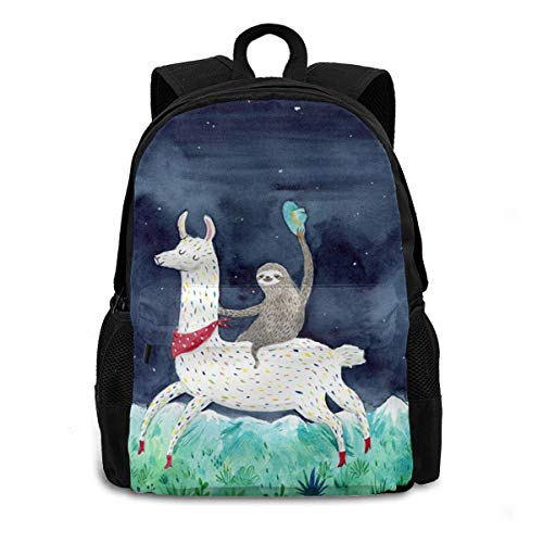 Sloth Riding Llama Laptop Backpack Durable Lightweight School Bookbag Casual Daypack Travel Hiking Camping College