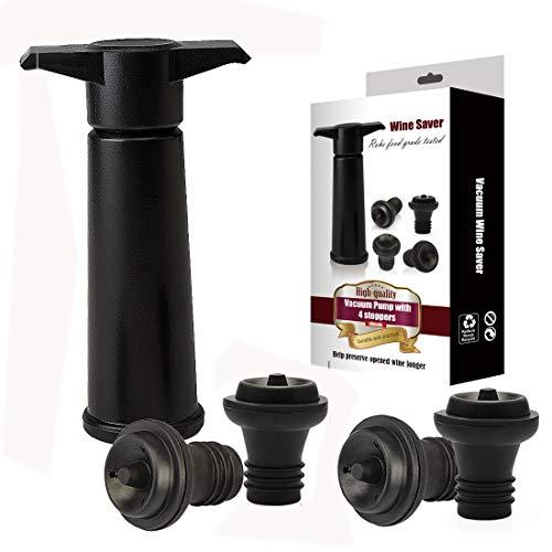 Yobansa Weinpumpe mit 4 Vakuum Weinverschluss,Vakuum Weinverschluss,Vakuum Weinstopfen,Weinverschluss,Weinverschlüsse (Black 01)