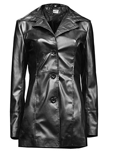 ST Lia Black Trenchcoat for Women 5-Button Ladies Fashion Coat Blazer Faux Leather Jacket Regular Petite Slim Short Plus