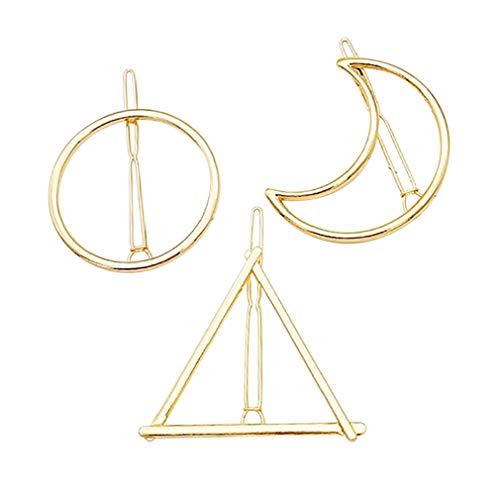 Junhouse 3 x Metall-Haarnadeln Geometrie Haarklammern – Kreis Dreieckige Mond Form Haarnadeln für Frauen Haarstyling-Zubehör