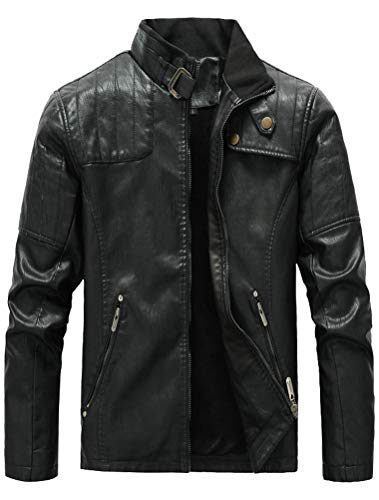 FTCayanz Men's Faux Leather Jacket Slim Fit Stand Collar PU Motorcycle Jackets Lightweight Classic Black Small