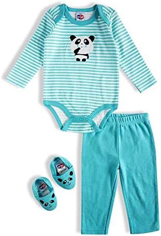 Kit 3 peças Body, calça e sapatinho, Tip Top, Bebê Unissex, Turquesa, RN