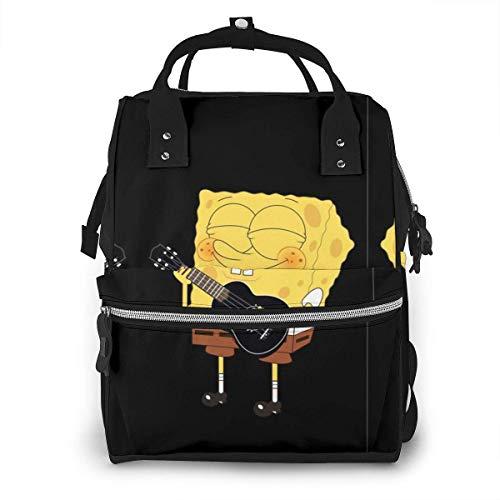 Wickeltasche Rucksack - Spongebob spielt Gitarre Multifunktion Wasserdichter Reiserucksack Mutterschaft Baby Windel Wickeltaschen