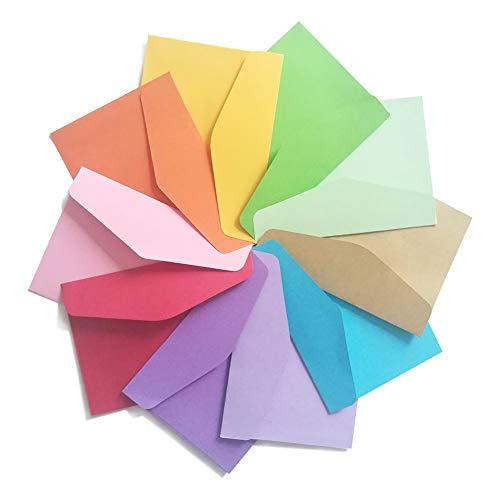 Vegena 100 Stück Mini Umschläge, Mehrfarbig Briefumschläge Niedlich Kleine Umschläge mit 100 Stücke Business Karten, Mini Umschlag für Geschenkkarte Hochzeit, Geburtstag Party Supplies, 11.5 * 8 cm
