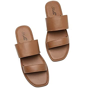 Katliu Women s Flat Sandals Two Strap Slide Sandals Open Toe Brown