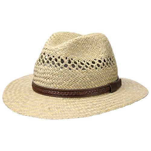 Lipodo Steven Traveller Strohhut Damen/Herren - Hut aus 100% Stroh - Sonnenhut Made in Italy - Sommerhut mit Ledergarnitur - Naturfarben Natur XL (60-61 cm)