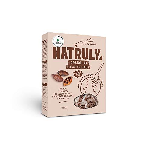NATRULY Granola BIO de Frutos Secos y Semillas Sin Cereales, Sin Gluten y Sin Azúcar Refinado, Vegana, Sabor Cacao, Coco y Quinoa -325g