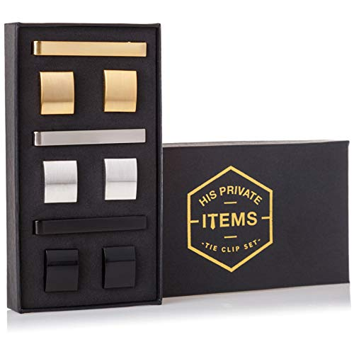 His Private Items Cufflinks and Tie Clip Set - 3 Couples - Gift Box (Gold Silver Black)