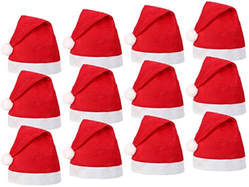Set di 12 Cappelli da Babbo Natale con Pon Pon (wm-32) Rosso Bianco di Feltro per Adulti Uomo Donna di Alsino