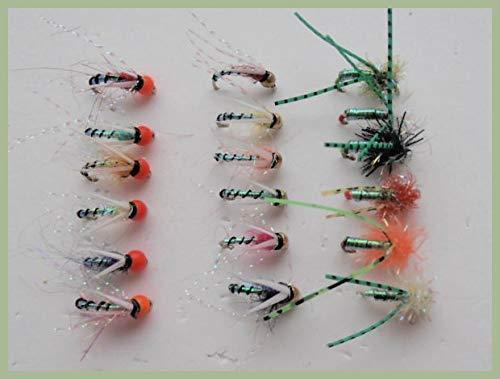 Beaded Cicalini Trota Pesca Mosche 3 Colori Misti 10//12 Fly Fishing confezione da 12