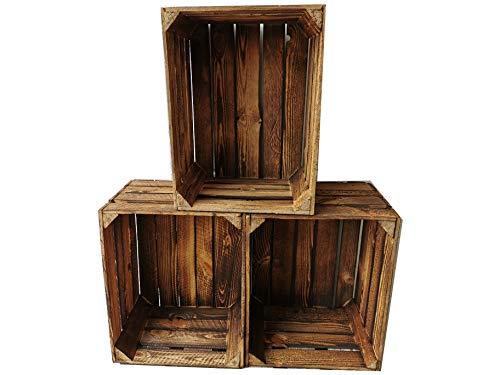 Lot de 3 caisses en bois flammé - 50 x 40 x 30 cm - Cagettes à fruits vintage - Cagettes à pommes - Pour la construction de meubles - 50 x 40 x 30 cm