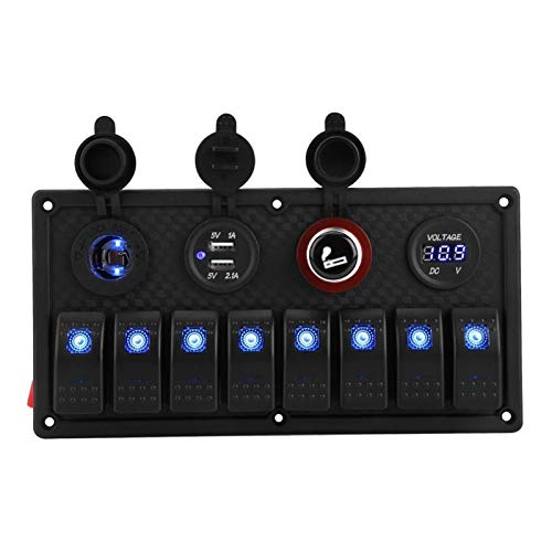 YSHSPED Interruptores de Palanca Interruptor de 12V 24V 8 Gang, Barco del Coche LED Rocker Panel de Control Dual del voltímetro del Cigarrillo del USB Accesorios de automóviles más Ligeros