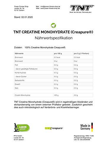 TNT Creapure® Creatine – 100% Kreatin-Monohydrat – Leistungssteigerung und Kraftschub im Training – 500g Dose - 2