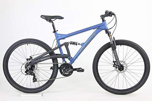 2021 Gravity FSX 27.5 LTD Dual Suspension 21 Speed Mountain Bike (Matt Nautical Blue, 19 inch = Medium/Lr fits 6'1' to 6'3')