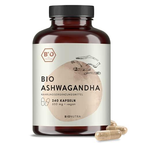 BIONUTRA® Ashwagandha bio | en gélules | 240 x 650 mg | Agriculture biologique | Végan | Sans additifs | Boîte en PET recyclable | Fabriqué en Allemagne