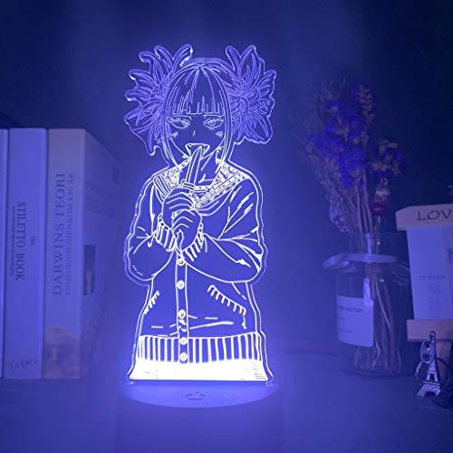 My Hero Academia Toga Himiko Figura Led Lámpara De Noche Para Regalo Para Niños Dormitorio Decoración Nightlight Mesa De Noche 3D Lámpara