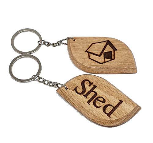 SHED Engraved Wooden Keyring Keychian Key Ring