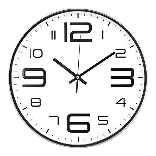 ufengke Orologio da Parete Bianco Numeri 3D Grandi Nero Orologio da Muro al Quarzo Silenzioso Industriale Moderno 30 cm