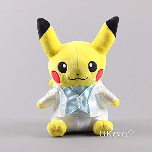 xinyawl Peluche de Pikachu en boda, disfraz de peluche, juguete en color blanco, ropa suave, 24 cm, niños presentes
