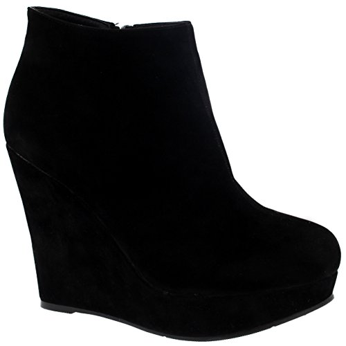 Damen Hoch Keilabsatz Plattform Schwarz Partei Schuhe Knöchez Stiefel - Schwarz - 38 - CD0067