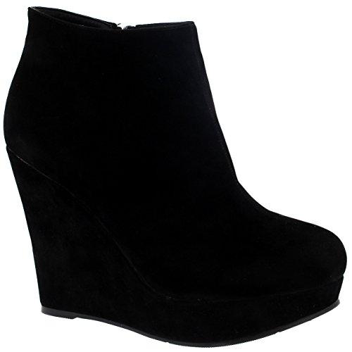 Mujer Alto Tacón De Cuña Tobillo Plataforma Negro Partido Zapatos Botas - Negro - 38