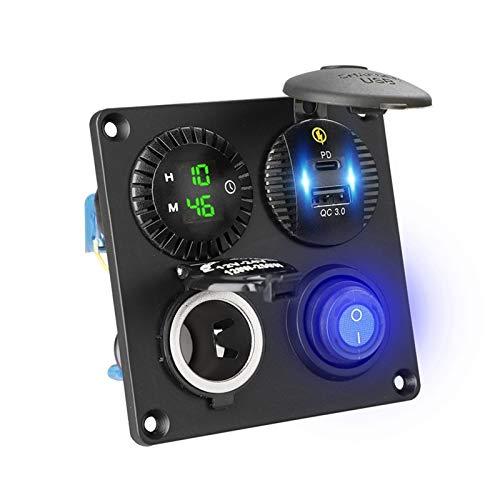 CRMY Panel de Interruptor de Palanca 4en1 de 12V, Encendido/Apagado, Resistente al Agua, 4,2A, Doble USB y PD, Puerto de Cargador, Panel basculante con voltímetro Digital, Toma de Encendedor