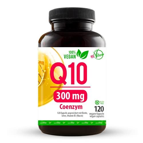 BWG MeinVita Coenzym Q10-300mg - extra hochdosiert - 120 Kapseln - 100% Vegan - 4 Monatsvorrat, Premium Q10 aus pflanzlicher Fermentation, 71 g
