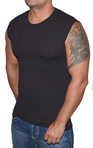 Blue Ness Herren T-Shirt Ärmellos - Fitness Muskelshirt in Schwarz Größe M