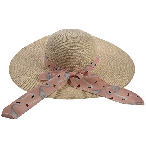 Naliovker Sommer Weiblicher Sonnenhut, Schmetterlingsschleife, Panama Beach Weiblicher Hut, Breiter Hut, Strohhut (Reiswei? + Rosa)