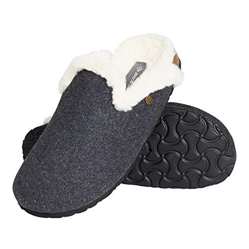 Dunlop Ciabatte Donna, Pantofole Invernali da Casa, Ciabatta Antiscivolo con Soletta Memory Foam, Taglia 36-41, Babbucce Pelose, Idea Regalo Compleanno E Natale (Grigio Scuro, Numeric_38)