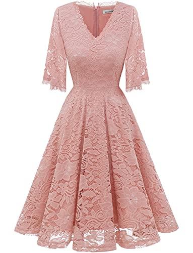 Gaardenwed Damen Elegant Hochzeitkleid Spitzenkleid Kurz Rockabilly Kleid Rosa Brautkleid Abendkleid Cocktailkleider Partykleider Blush S