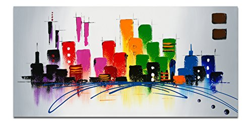 Wieco Art Cityscape Extra Large Colorful City 100% Hand Pain...