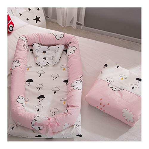 Pillows Baby Bassinet for Bed Baby Lounger 0-24 Months Co-Sleeping Lightweight Baby Bed 100% Cotton Portable Crib Girls Baby Nest for Bedroom Travel (Color : Style25)