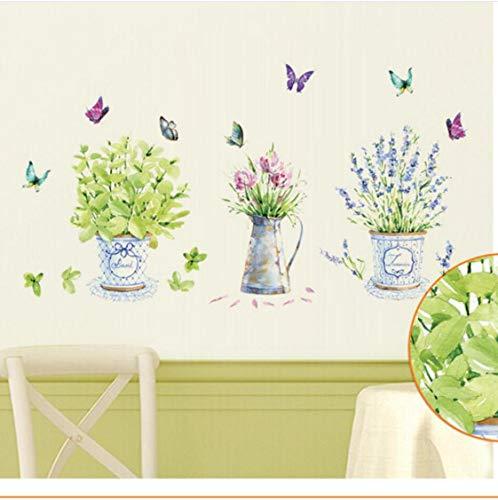 ZHANGDiy Wandaufkleber Wohnkultur Topf Blumentopf Schmetterling Küche Fenster Glas Bad Aufkleber Wasserdicht Kostenloser Versand