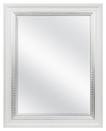 MCS 18x24 Inch Embossed Accent Wall Mirror, 23x29 Inch Overall Size, White -