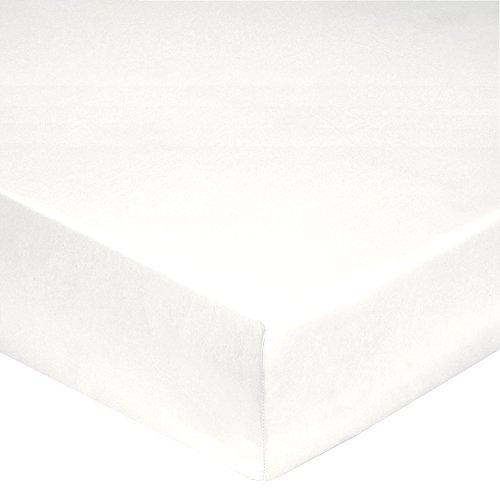 Blanc des Vosges Uni Percale Drap Housse 2 Têtes Coton Blanc 160 x 200 cm bonnet de 30 cm