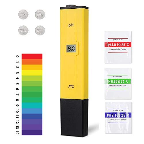 Ulikey PH Medidor de Digital, Medidor Ph Agua Preciso,Resolución 0.01 Probador de PH con Rango de Medición de pH de 0-14, para Acuario, Piscina de Agua Hidropónica, Laboratorio