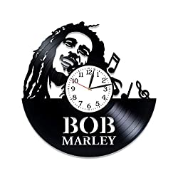 Kovides Bob Marley Wall Art Xmas Gift Idea for Woman Music Art Reggae Music Gift Lp Vinyl Retro Record Wall Clock Exclusive Birthday Gift for Fan Bob Marley Clock Wall Clock Large