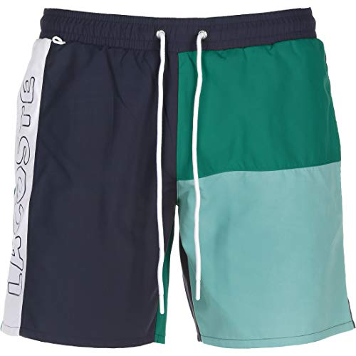 Lacoste Herren MH6276 Badeshorts, Männer Beachshorts,Badehose,Schwimmhose, Regular Fit,Navy Blue/Niagara Blue-CICER-White(UD0),Large (L)