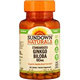 Sundown Ginkgo Biloba Plus Standardized 60mg Tablets - 100ct Bottles (Pack of 2) - Packaging May Vary