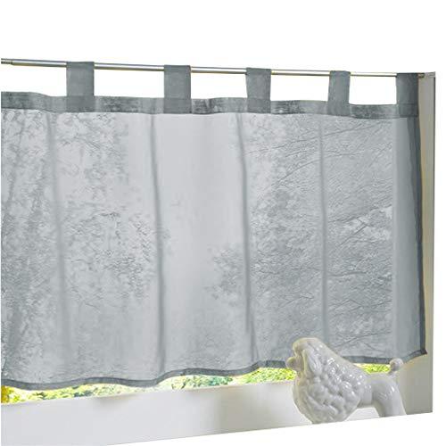 ESLIR Scheibengardine mit Schlaufen Gardinen Küche Bistrogardinen Transparent Stores Vorhänge Kurzgardine Voile Grau BxH 60x90cm 1 Stück